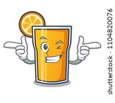 wink orange juice character...   Shutterstock .eps vector #1104820076