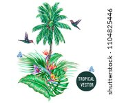 palm tree  hummingbirds ... | Shutterstock .eps vector #1104825446