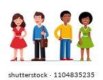happy young women   men couples ... | Shutterstock .eps vector #1104835235