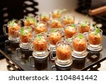 eggplant appetizer in small... | Shutterstock . vector #1104841442