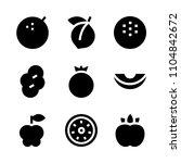 9 fruits icons vector set. milk ...   Shutterstock .eps vector #1104842672