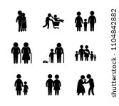 9 family icons vector set. home ... | Shutterstock .eps vector #1104842882