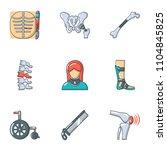 prosthesis icons set. cartoon... | Shutterstock .eps vector #1104845825