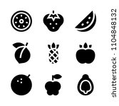 9 fruits icons vector set. sour ...   Shutterstock .eps vector #1104848132