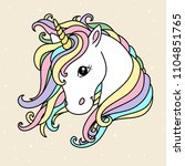 white cute unicorn vector head... | Shutterstock .eps vector #1104851765