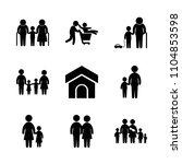 9 family icons vector set....   Shutterstock .eps vector #1104853598