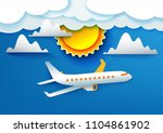 airplane aerial view paper art... | Shutterstock .eps vector #1104861902