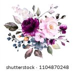 watercolor flowers. floral... | Shutterstock . vector #1104870248