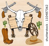 western old west cowboy artwork ... | Shutterstock .eps vector #110487362