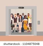 different people standing in... | Shutterstock .eps vector #1104875048
