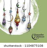 eid mubarak background with... | Shutterstock .eps vector #1104875108