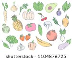 farm vegetables vector poster.... | Shutterstock .eps vector #1104876725
