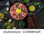 french cuisine  beef steak... | Shutterstock . vector #1104884165