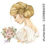 watercolor woman bride with... | Shutterstock . vector #1104886655