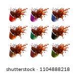 black coffee splash in a... | Shutterstock .eps vector #1104888218