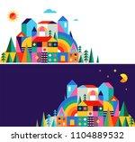 geometric fairy tale kingdom ... | Shutterstock .eps vector #1104889532