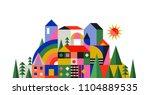 geometric fairy tale kingdom ... | Shutterstock .eps vector #1104889535