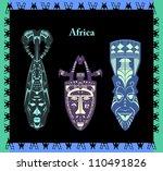 dark african masks | Shutterstock .eps vector #110491826
