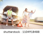 young man next to the broken... | Shutterstock . vector #1104918488