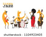 llamas jazz. funny card with... | Shutterstock .eps vector #1104923405