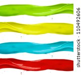 Various kinds of colored paints splashes. isolated on white background - stock photo