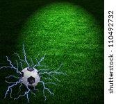 football ball with blue... | Shutterstock . vector #110492732