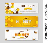 bee honey horizontal banners... | Shutterstock .eps vector #1104930902