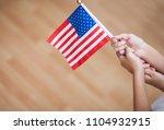 Boy Hand Holding American Flag  ...