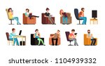 sedentary man and woman on... | Shutterstock .eps vector #1104939332