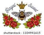 bee crown flowers embroidery... | Shutterstock .eps vector #1104941615