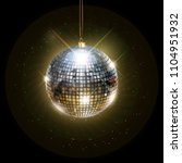 disco ball with bright rays ... | Shutterstock .eps vector #1104951932