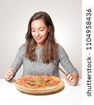 beautiful young brunette woman... | Shutterstock . vector #1104958436