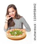 gorgeous young brunette woman... | Shutterstock . vector #1104958442