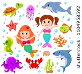 cute cartoon sea animals and... | Shutterstock .eps vector #1104958592