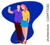 young cute cheerful couple in... | Shutterstock .eps vector #1104975182