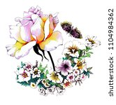 watercolor floral pattern with... | Shutterstock . vector #1104984362