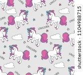 seamless pattern with unicorns... | Shutterstock . vector #1104988715