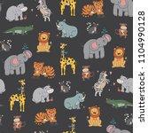 african jungle animals vector... | Shutterstock .eps vector #1104990128
