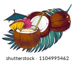 coconuts  set  cocktail  palm... | Shutterstock .eps vector #1104995462