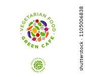 green cafe vegetarian food logo.... | Shutterstock .eps vector #1105006838
