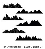 set of black and white mountain ... | Shutterstock .eps vector #1105010852
