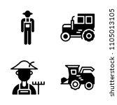 farm icon set. man  white ... | Shutterstock .eps vector #1105013105