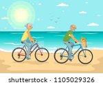 senior couple on bikes. senior... | Shutterstock .eps vector #1105029326