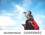 father and son playing in... | Shutterstock . vector #1105030652