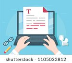 writer writing on computer... | Shutterstock .eps vector #1105032812