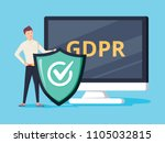 gdpr protector. smiling cartoon ... | Shutterstock .eps vector #1105032815