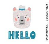 white bear sailor vector... | Shutterstock .eps vector #1105037825