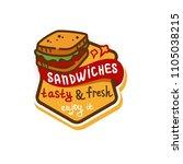 flat color sandwich icon....   Shutterstock .eps vector #1105038215