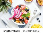 tropical fruit salad with... | Shutterstock . vector #1105041812