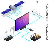 vector tv antenna  realistic...   Shutterstock .eps vector #1105046492